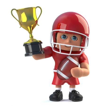 footballer: 3d render of an American footballer holding up a gold winners trophy