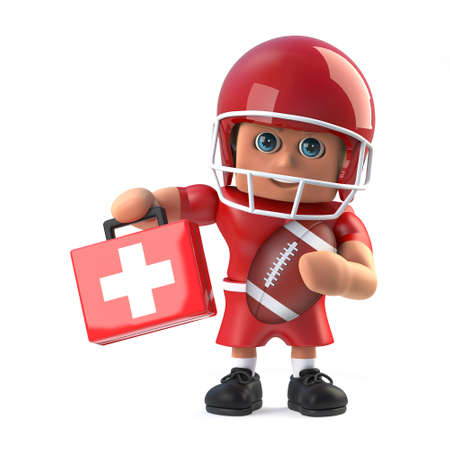 footballer: 3d render of an American footballer holding up first aid kit Stock Photo