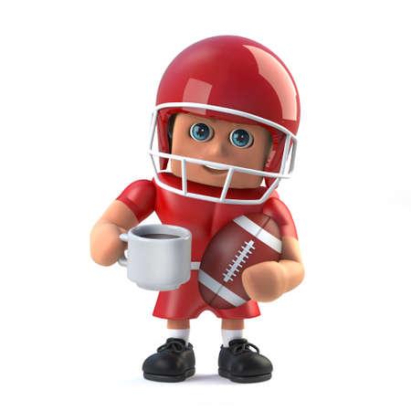 footballer: 3d American footballer has a cup of coffee