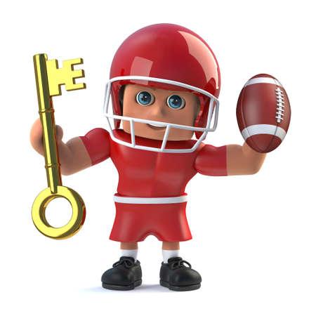 footballer: 3d render of an American footballer holding a gold key and football Stock Photo