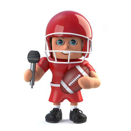 footballer: 3d American footballer has got the microphone