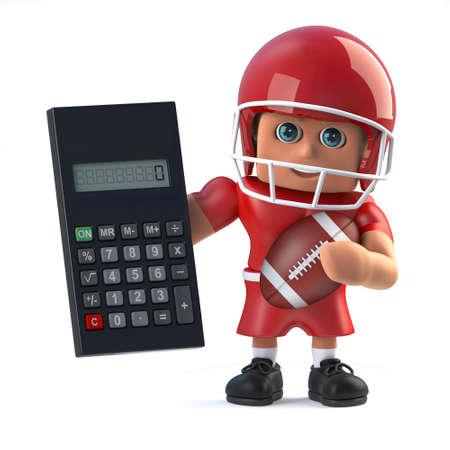 footballer: 3d American footballer has a calculator