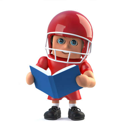 quarterback: 3d render in a cartoon style of an American footballer character reading a book