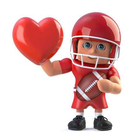 footballer: 3d render of an American footballer holding a red heart.