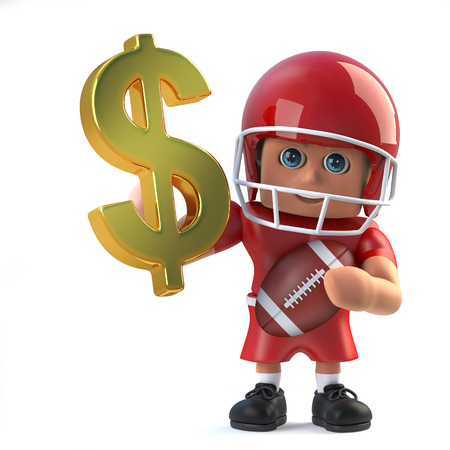 quarterback: 3d render of an American football player holding a US Dollar currency symbol made of pure gold.