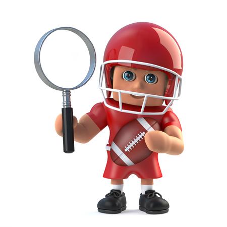 footballer: 3d render of an American footballer holding a magnifying glass