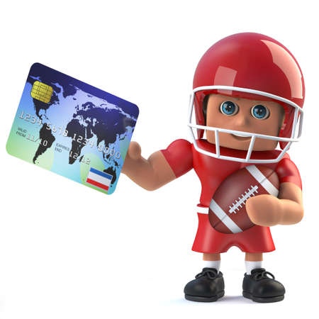 debit card: 3d render of an American football player holding a debit card and football.