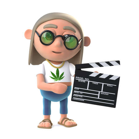 stoned: 3d render of a hippy stoner holding a movie making clapperboard