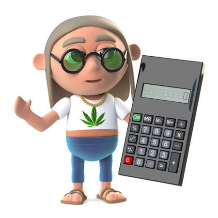 stoned: 3d Hippie stoner uses a calculator