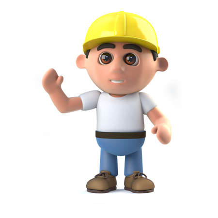laborer: 3d Construction worker is waving hello Stock Photo