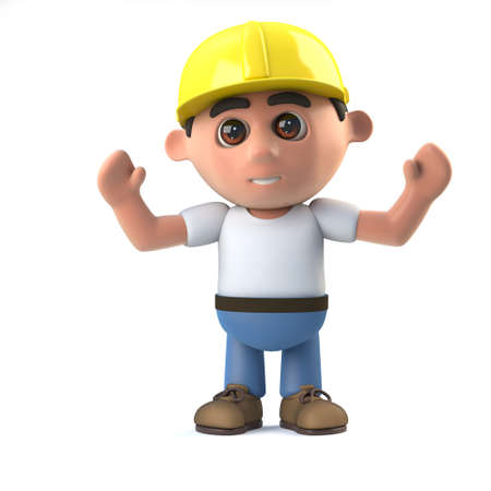 labourer: 3d render of a construction worker with his arms in the air