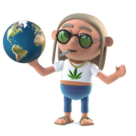 3d render of a hippie stoner holding a globe of the Earth
