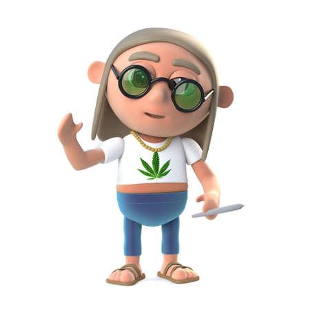stoned: 3d Hippie stoner smoking a marijuana cigarette Stock Photo
