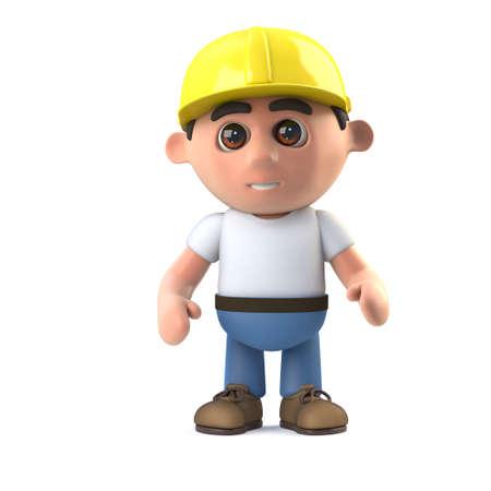 labourer: 3d render of a construction worker standing ready