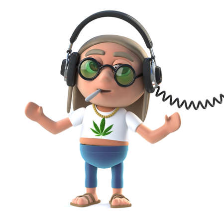 stoned: 3d render of a hippy stoner listening to headphones