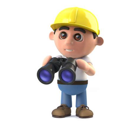 arquitecto caricatura: 3d rinden de un trabajador de la construcción que sostiene un par de binoculares Foto de archivo