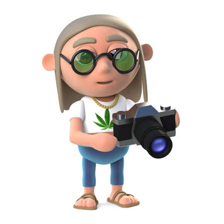 slr: 3d render of a hippy stoner holding his new SLR camera Stock Photo