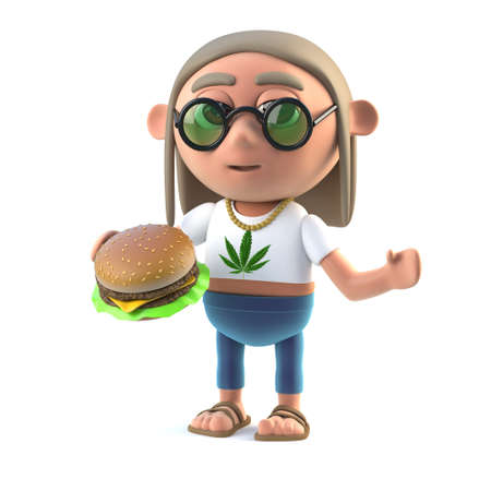 long haired: 3d render of a long haired hippy stoner holding a burger