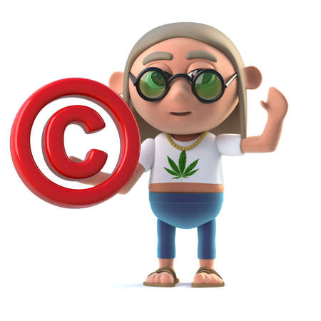 copyright symbol: 3d render of a hippy stoner holding a copyright symbol