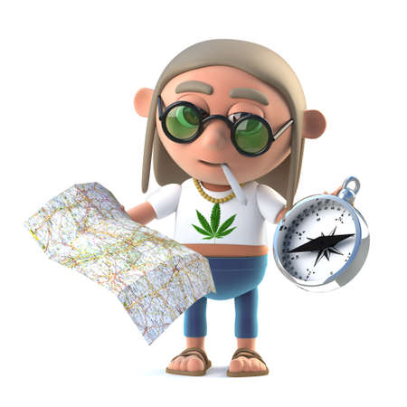 stoned: 3d Hippie stoner reads his map Stock Photo