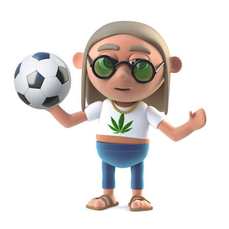 dope: 3d render of a hippie stoner holding a soccer ball
