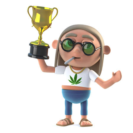 sixties: 3d render of a hippie stoner holding up a gold cup trophy Stock Photo