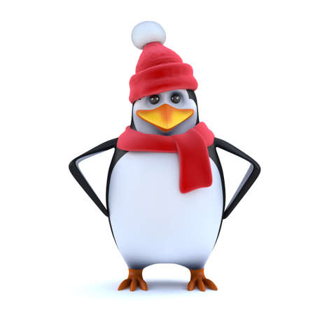 wooly: 3d render of a cute penguin in cartoon character style wearing a red wooly hat and scarf and standing with his hands on his hips