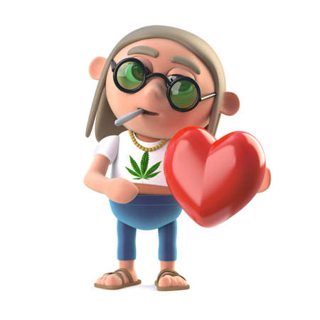 stoned: 3d render of a hippie stoner cartoon style character smoking a marijuana cigarette and holding a red heart Stock Photo