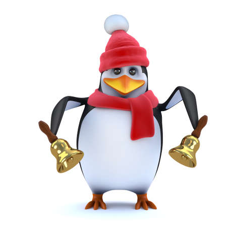 icy: 3d render of a cute cartoon character style penguin wearing a red wooly hat and scarf and ringing two brass bells