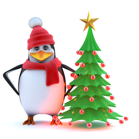 decorated christmas tree: 3d render of a cute penguin in winter wool hat and scarf standing by his newly decorated Christmas tree.