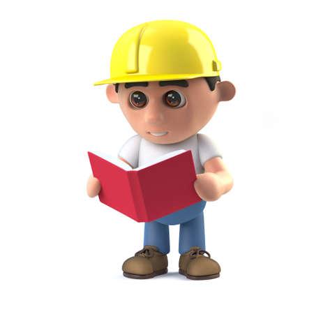 arquitecto caricatura: 3d rinden de un trabajador de la construcci�n que lee un libro