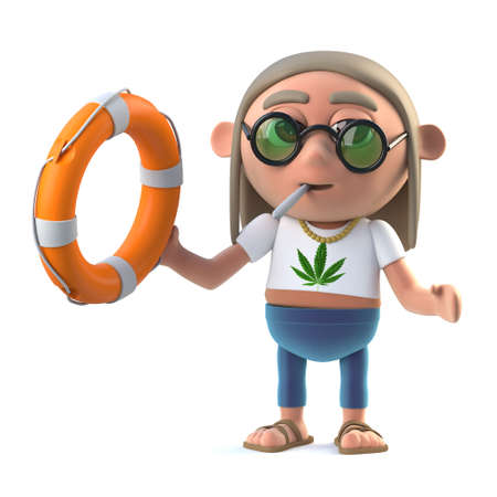 life ring: 3d render of a stoner hippie holding a life ring. Stock Photo