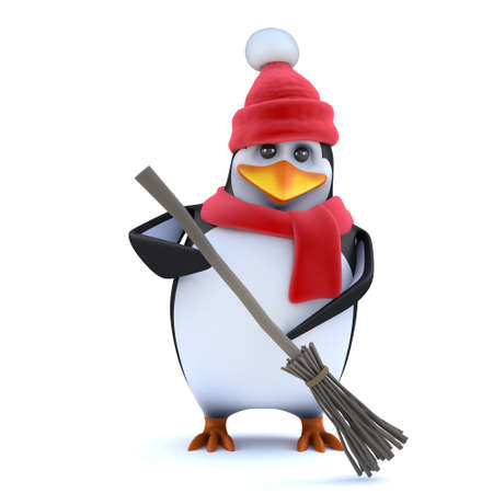 3d render of a cute penguin wearing winter wool hat and scarf, sweeping up with his new broom