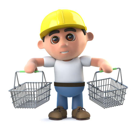 labourers: 3d render of a construction worker cartoon character carrying two shopping baskets