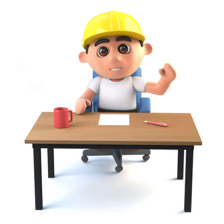 3d render of a construction worker sitting at his desk and waving Stock Photo