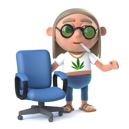 stoned: 3d render of a hippie stoner standing next to an empty office chair.