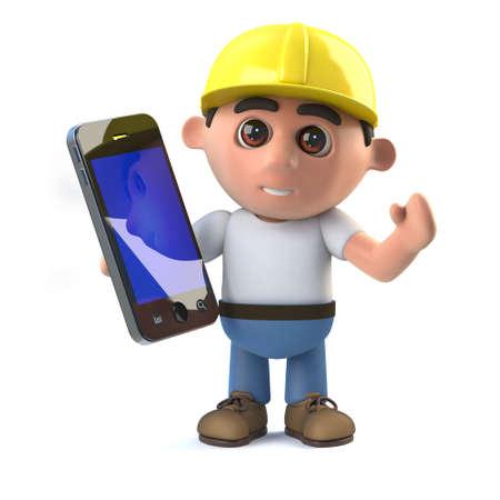 arquitecto caricatura: 3d rinden de un trabajador de la construcción la celebración de un dispositivo de tableta teléfono inteligente.