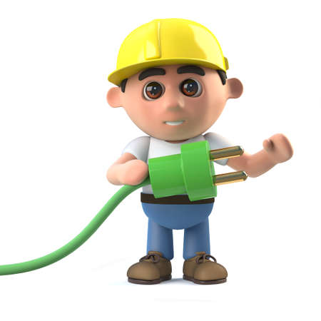 plug hat: 3d render of a construction worker holding a green energy power lead.
