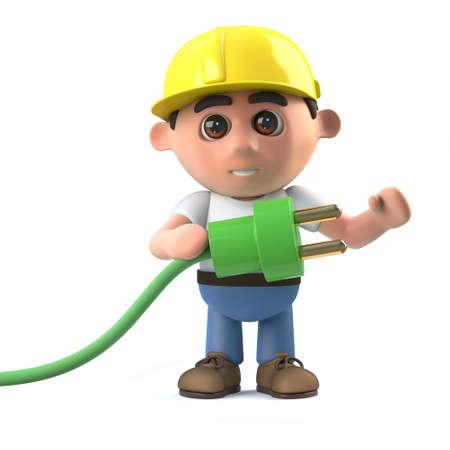 arquitecto caricatura: 3d rinden de un trabajador de la construcción que sostiene un cable de fuente de energía verde.