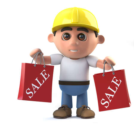 laborer: 3d render of a construction worker holding two Sale bags from shopping.