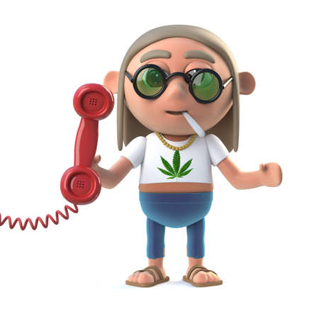 stoned: 3d render of a hippie stoner holding a phone handset.