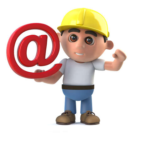3d render of a construction worker holding an email address symbol Stock Photo