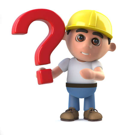 labourer: 3d render of a construction worker holding a question mark symbol.