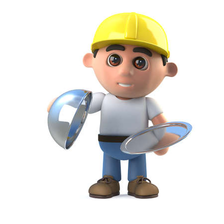 3d render of a construction worker holding a silver tray and lid. Stock Photo