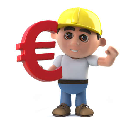 3d render of a construction worker holding a Euro currency symbol Stock Photo