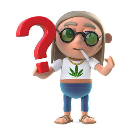 stoned: 3d render of a hippie stoner holding a question mark symbol