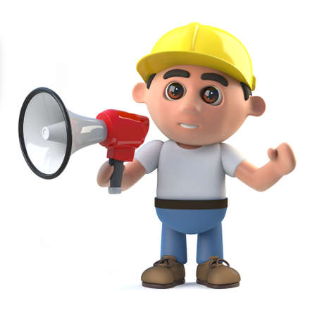amplify: 3d render of a construction worker using a megaphone.