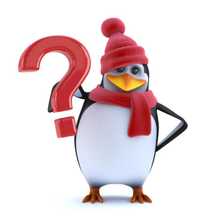 icy: 3d render of a cute penguin holding a question mark