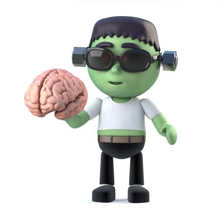 3d render of a cute frankenstein monster holding a brain Stock Photo