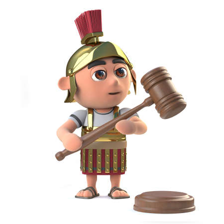tactics: 3d render of a Roman soldier holding an auctioneers gavel